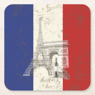 Flag and Symbols of France ID156 Square Paper Coaster