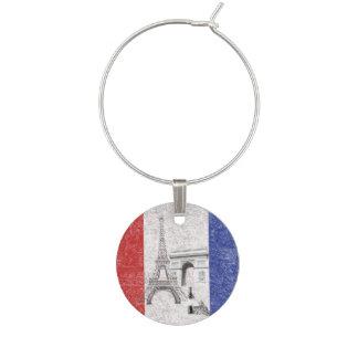 Flag and Symbols of France ID156 Wine Glass Charm