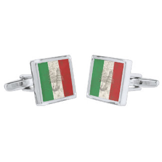 Flag and Symbols of Italy ID157 Silver Finish Cufflinks