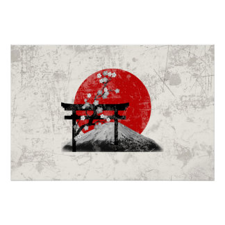 Flag and Symbols of Japan ID153 Poster