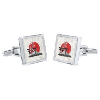 Flag and Symbols of Japan ID153 Silver Finish Cufflinks