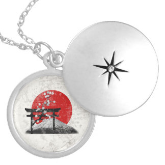 Flag and Symbols of Japan ID153 Silver Plated Necklace