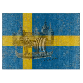 Flag and Symbols of Sweden ID159 Cutting Board