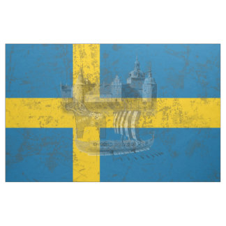 Flag and Symbols of Sweden ID159 Fabric