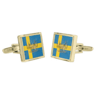 Flag and Symbols of Sweden ID159 Gold Finish Cufflinks