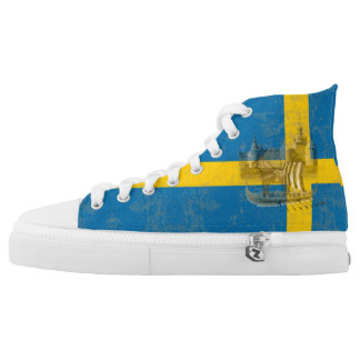 Flag and Symbols of Sweden ID159 High Tops