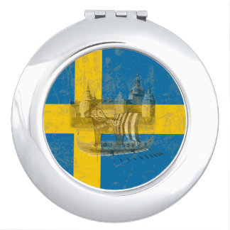 Flag and Symbols of Sweden ID159 Makeup Mirror