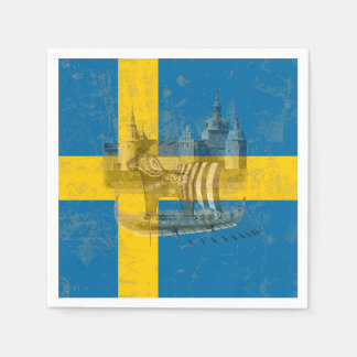Flag and Symbols of Sweden ID159 Paper Napkin