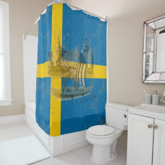 Flag and Symbols of Sweden ID159 Shower Curtain