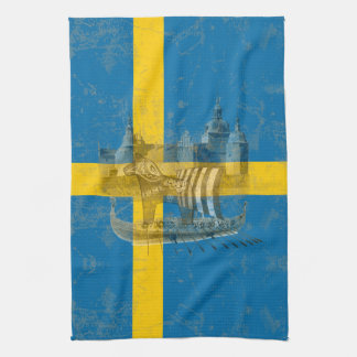 Flag and Symbols of Sweden ID159 Tea Towel
