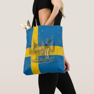 Flag and Symbols of Sweden ID159 Tote Bag