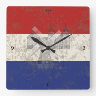 Flag and Symbols of the Netherlands ID151 Square Wall Clock