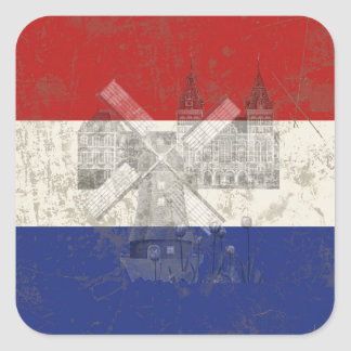 Flag and Symbols of the Netherlands Square Sticker
