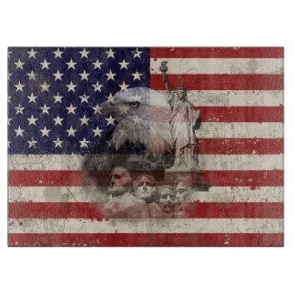 Flag and Symbols of United States ID155 Cutting Board