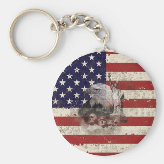 Flag and Symbols of United States ID155 Key Ring