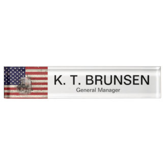 Flag and Symbols of United States ID155 Name Plate