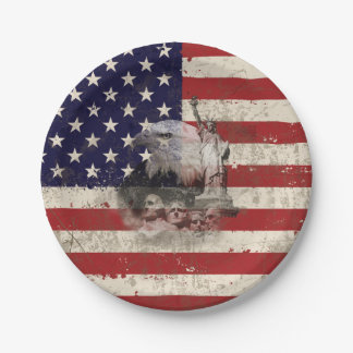 Flag and Symbols of United States ID155 Paper Plate