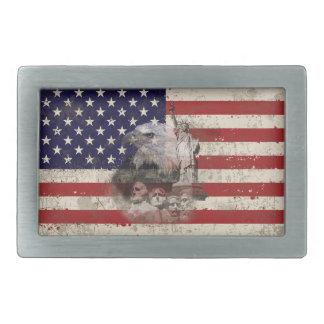 Flag and Symbols of United States ID155 Rectangular Belt Buckle