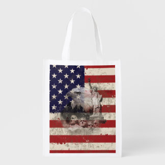 Flag and Symbols of United States ID155 Reusable Grocery Bag
