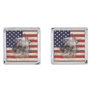 Flag and Symbols of United States ID155 Silver Finish Cufflinks