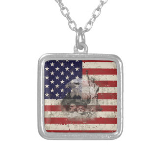 Flag and Symbols of United States ID155 Silver Plated Necklace