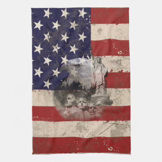 Flag and Symbols of United States Tea Towel