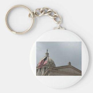 Flag at State Capital Oklahoma City Basic Round Button Key Ring