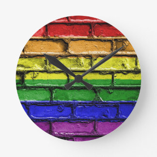Flag Banner Gay LGBT Round Clock