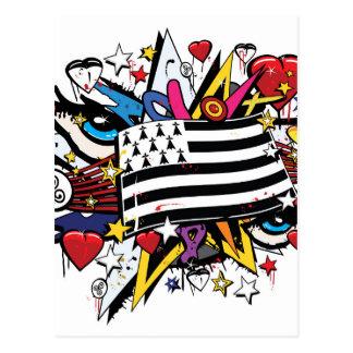 Flag Brittany Breizh Breton graffiti graff Postcard