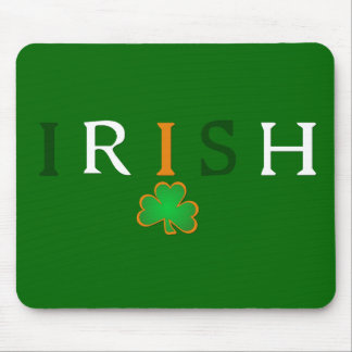 Flag Colored Irish with Shamrock Design Mouse Pad
