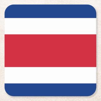 Flag: Costa Rica Square Paper Coaster
