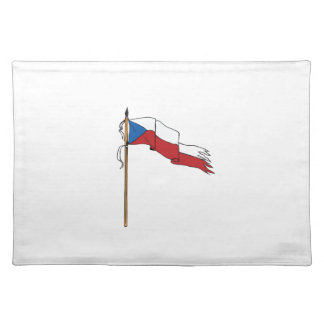 Flag Czech Republic Torn Ripped Retro Placemat