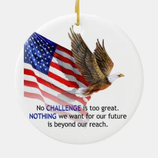 Flag & Eagle Donald J Trump Quote Round Ceramic Decoration