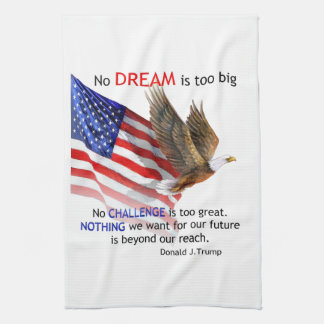 Flag & Eagle Donald J Trump Quote Tea Towel