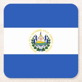 Flag: El Salvador Square Paper Coaster