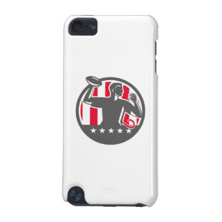 Flag Football QB Player Passing Ball Circle Retro iPod Touch (5th Generation) Cover