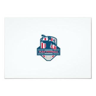 Flag Football QB Player Passing Ball Crest Retro Card