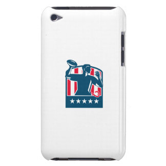 Flag Football QB Player Passing Ball USA Flag Cres Barely There iPod Cases