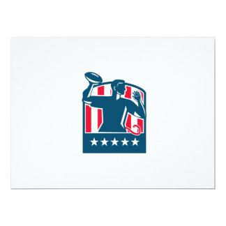 Flag Football QB Player Passing Ball USA Flag Cres Card
