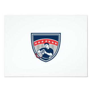 Flag Football QB Player Running Stars Crest Retro Card