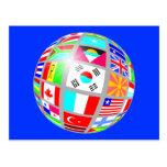 flag globe blue postcard
