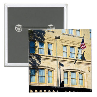 Flag hanging from a building, San Antonio, 15 Cm Square Badge
