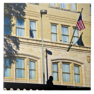 Flag hanging from a building, San Antonio, Large Square Tile