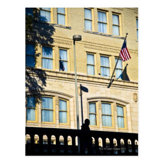 Flag hanging from a building, San Antonio, Postcard