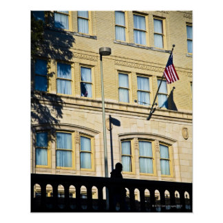 Flag hanging from a building, San Antonio, Poster