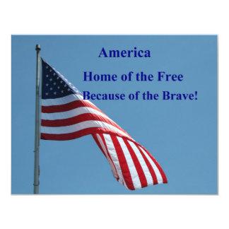 Flag, Home of the Free! 11 Cm X 14 Cm Invitation Card