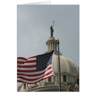 Flag in front of Oklahoma State Capital Greeting Card