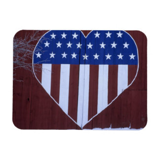 Flag in heart shape painted on barn after 9-11. rectangular photo magnet