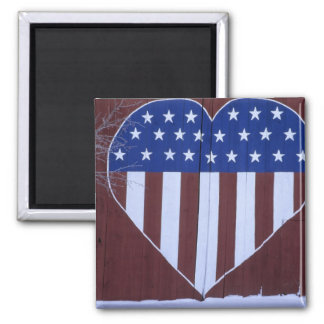 Flag in heart shape painted on barn after 9-11. square magnet