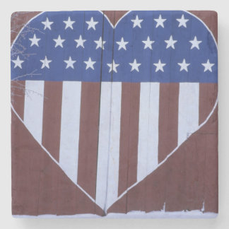 Flag in heart shape painted on barn after 9-11. stone beverage coaster